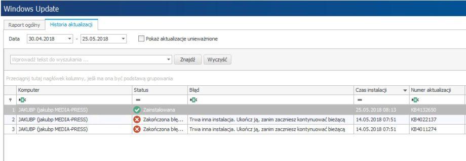 Okienko narzędzia Windows Update systemu statlook pokazujące historię aktualizacji systemów w obrębie przykładowej instacji