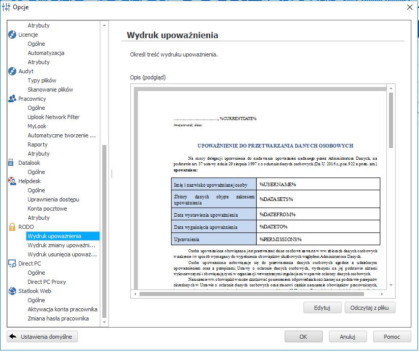 Gotowe szablony dokumentacji związanej z upoważnieniem do przetwarzania danych osobowych w module statlook RODO