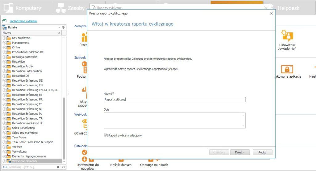 Okno powitalne kreatora raportu cyklicznego - narzędzia pozwalającego na automatyczne generowanie i wysyłanie raportów na podany adres e-mail