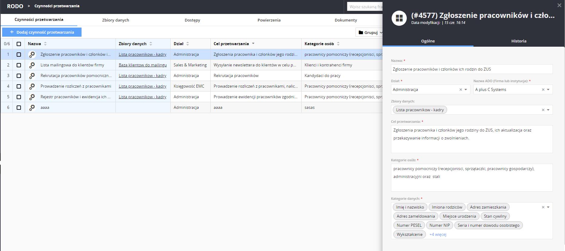 Nowe czynności przetwarzania w module statlook RODO w wersji 12.2.0