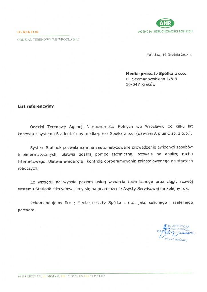 Ewidencja i kontrola oprogramowania statlookiem w Agencji Nieruchomości Rolnych