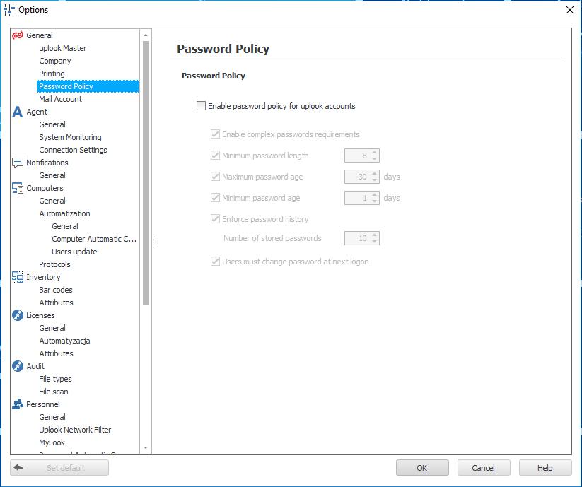 The options window depicting how you can change password policy in the system