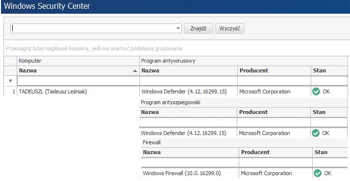 Funkcja Windows Security Center w systemie statlook 12.1.0 pozwala na zapoznanie się z infrastrukturą bezpieczeństwa wewnątrz firmy