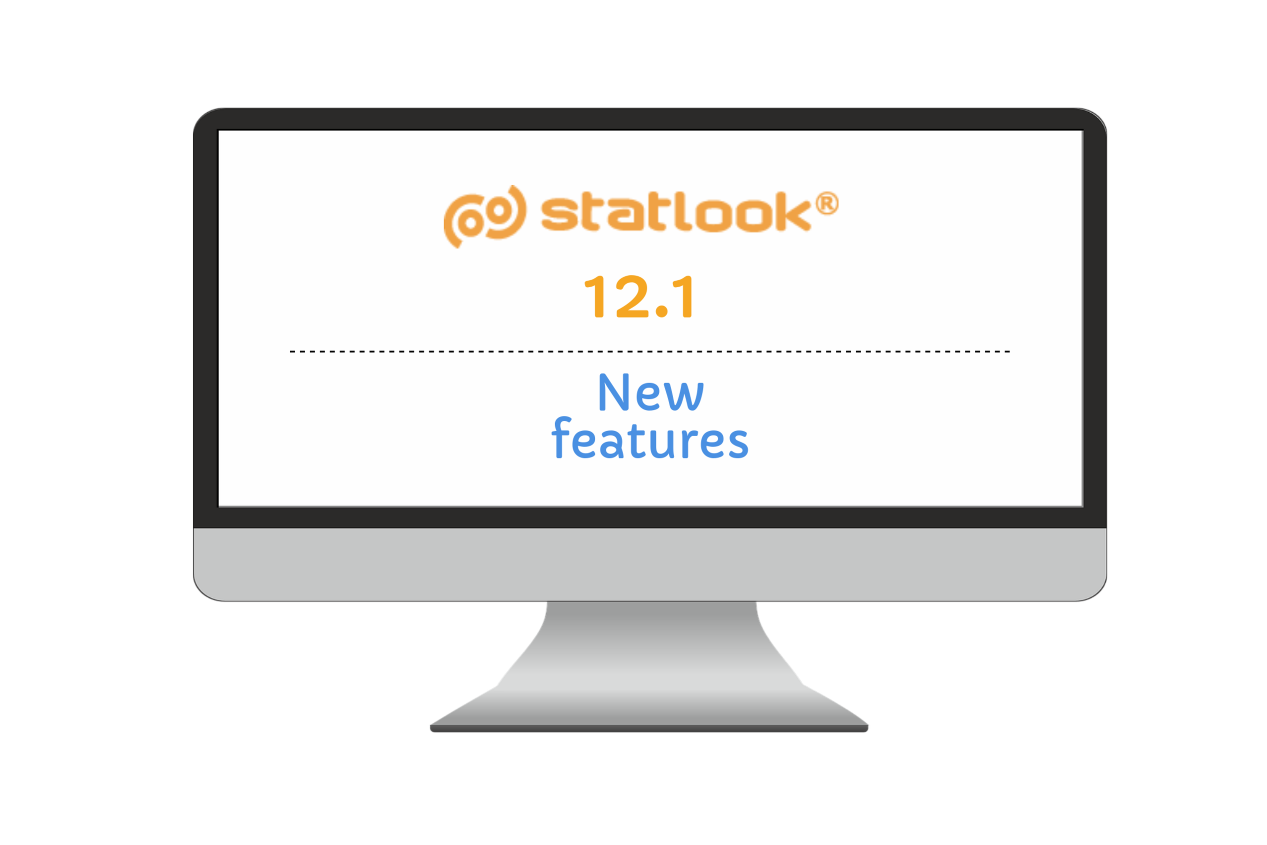 a monitor presenting the title - statlook 12.1 new features